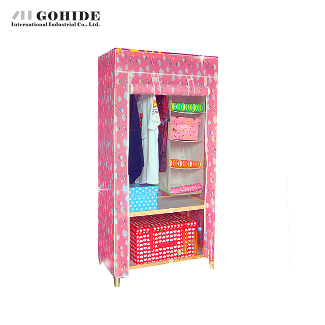 Gohide Simple Wardrobe Solid Wood Wardrobes Non-Woven Wardrobe Solid Wood Wardrobes Assembling Storage Cabinet