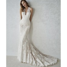 Sexy Lace Mermaid Deep V Neck Wedding Dress Sleeveless Formal Bridal Gown Botton Back Long Fishtail Wedding Dress Robe De Soiree