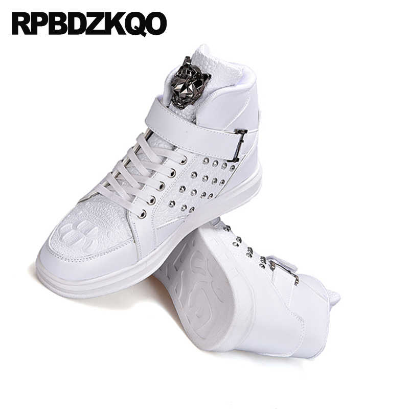... White Comfort Men Shoes Casual High Top Rubber Elevator Skate Spring  Sneakers New Fashion Trainers 2018 ... 6704f867ca69