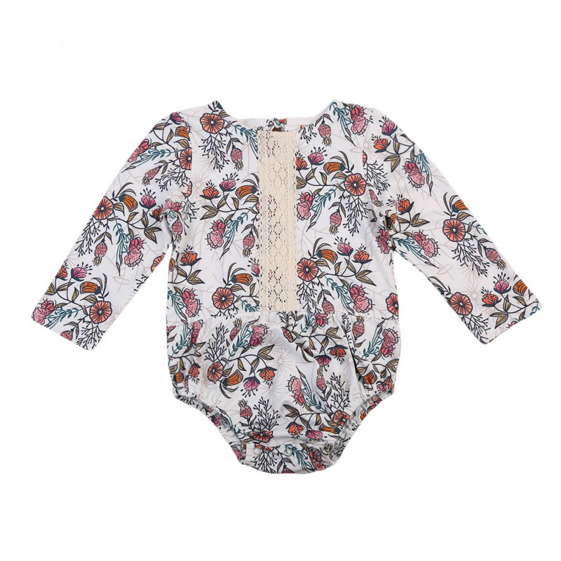 Newborn Kids Baby Girls Infant Floral Romper Clothes Cotton Lace Long Sleeve Jumpsuit Playsuit One-Piece Clothes Outfit Clothing