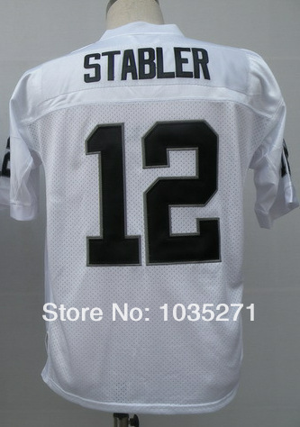 Top Sale Jerseys Oulet #12 Ken Stabler Jersey ,Stitched Logo Embroidery Wholesale Price 100% Embroidery