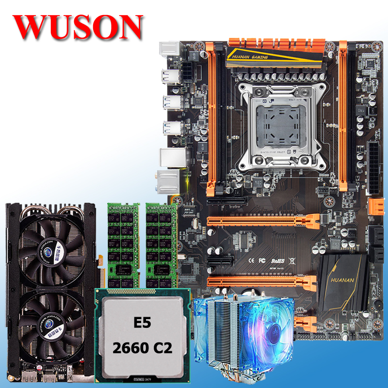 New arrival HUANAN deluxe X79 motherboard processor Xeon E5 2660 C2 with cooler RAM 16G(2*8G) DDR3 RECC GTX760 4G video car new arrival huanan x79 deluxe motherboard cpu ram set x79 lga2011 motherboard intel xeon e5 2660 c2 ram 16g 2 8g ddr3 recc