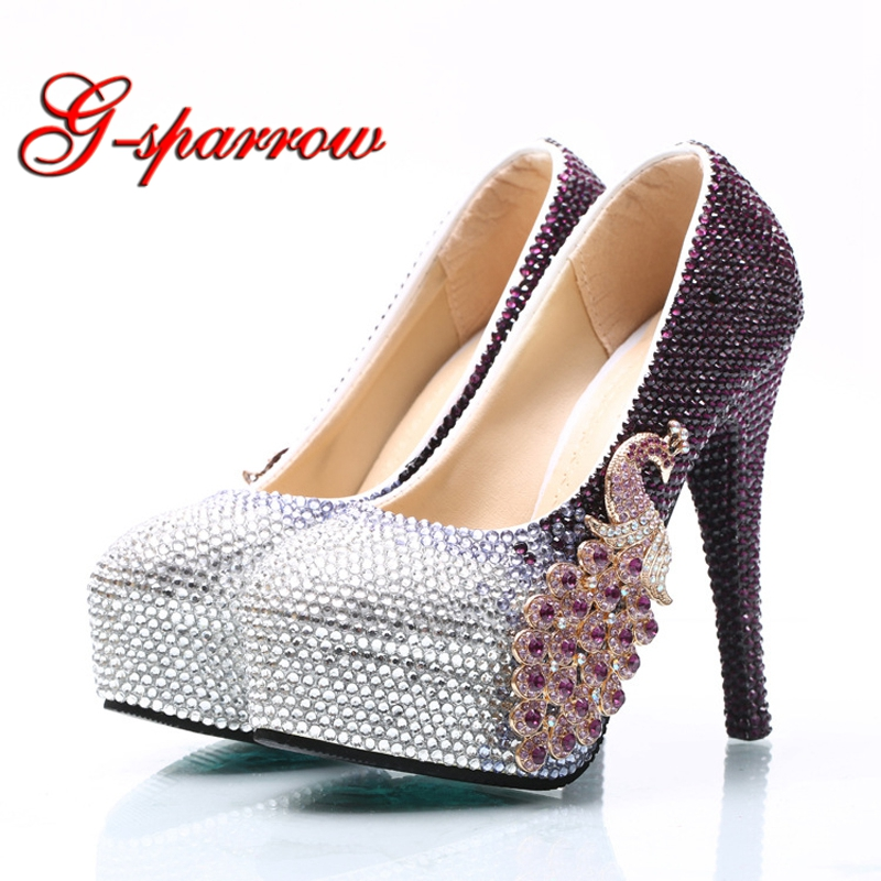 Crystal Purple and Silver Color Woman High Heel Shoes Large Size 44 45 Wedding Party Shoes Graduate Farewell Ceremony Pumps sparkling ab crystal red wedding high heels shoes rhinestone fashion bride dress shoes matric graduate farewell ceremony shoes