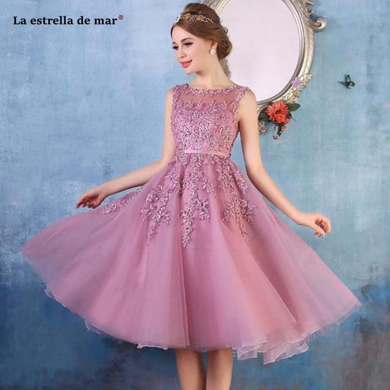 Vestido de fiesta para boda new SCOOP neck tulle applique pearl A Line blush pink navy blue burgundy   bridesmaid     dress   TEA length