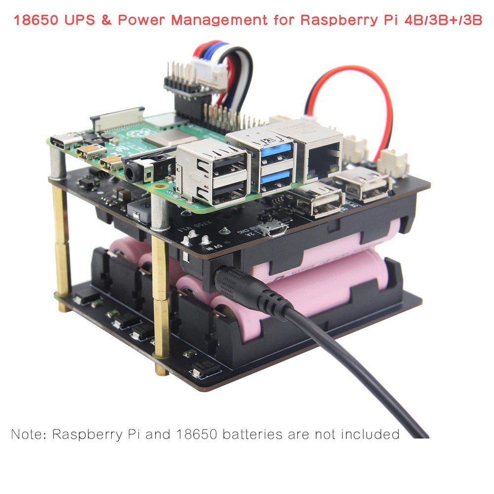 Raspberry Pi 4 Model B UPS HAT Shields, X750 Power Management Expansion Board For Raspberry Pi 4B/3B+/3B/2B/A+/B