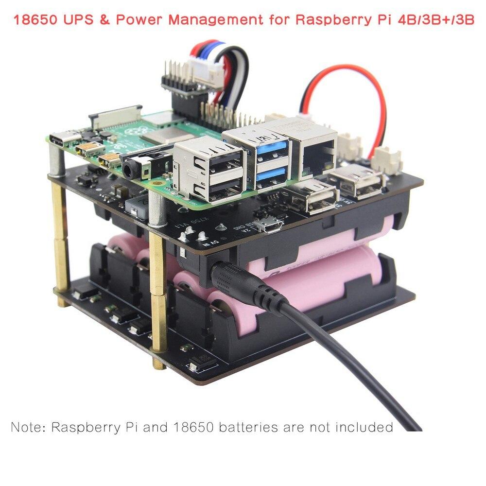 Raspberry Pi 4 modèle B UPS boucliers de chapeau, carte d'extension de gestion de l'alimentation X750 pour Raspberry Pi 4B/3B +/3B/2B/A +/B