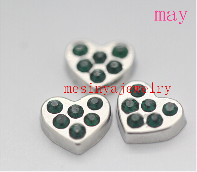 May Emerald birthstone floating charms for glass locket Min amount $15 per order mixed items,FC-009