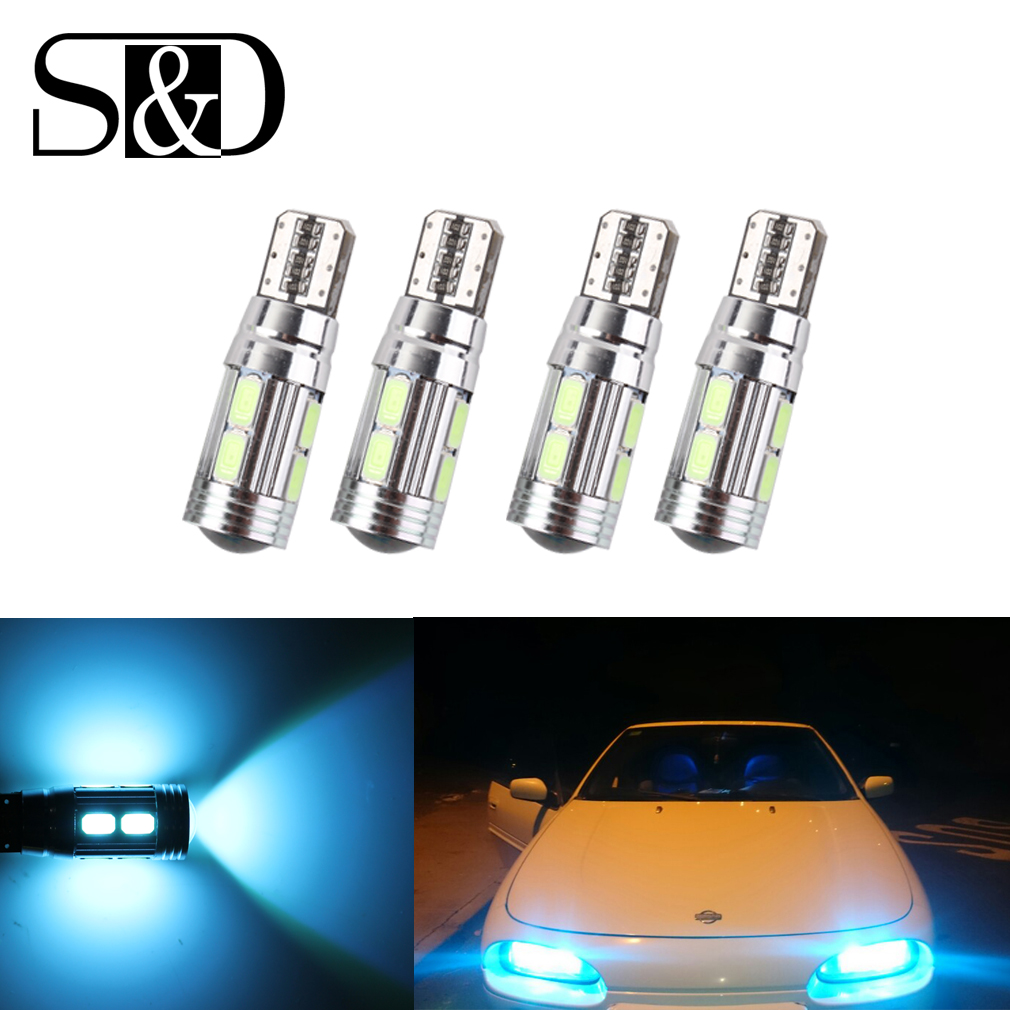 4 X T10 W5W LED Bulbs 10SMD CANBUS OBC Error Free LED Lamp 501 dash Car LED bulbs interior Auto Lamp parking Light 12V D45 4 in 1 12v auto car atmosphere light interior floor dash decoration light foot led lamp bar 9 leds with cigarette lighter