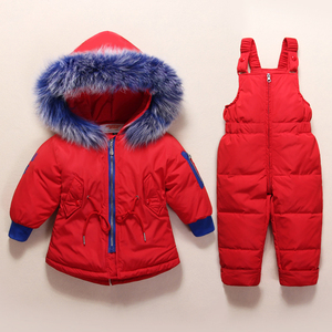 Image 5 - New Russian Winter Clothes for Baby Boys Girls 1 4years Children Down Suit Genuine Fur Collar Kids Down Jacket Girls Winter Coat