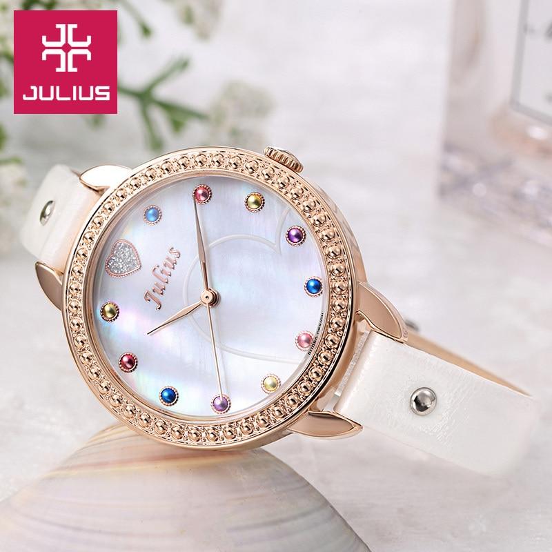 03d2308905b2 Nuevo reloj de pulsera de mujer Julius para mujer elegante lindo Shell moda  horas vestido pulsera cuero chica cumpleaños regalo de San Valentín