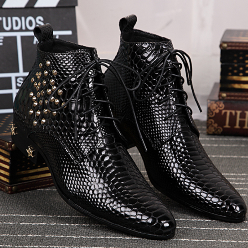 Christia Bella Brand Italian Men Shoes Genuine Leather Snakeskin Ankle Boots Business Wedding Men Dress Shoes Black Cowboy Boots