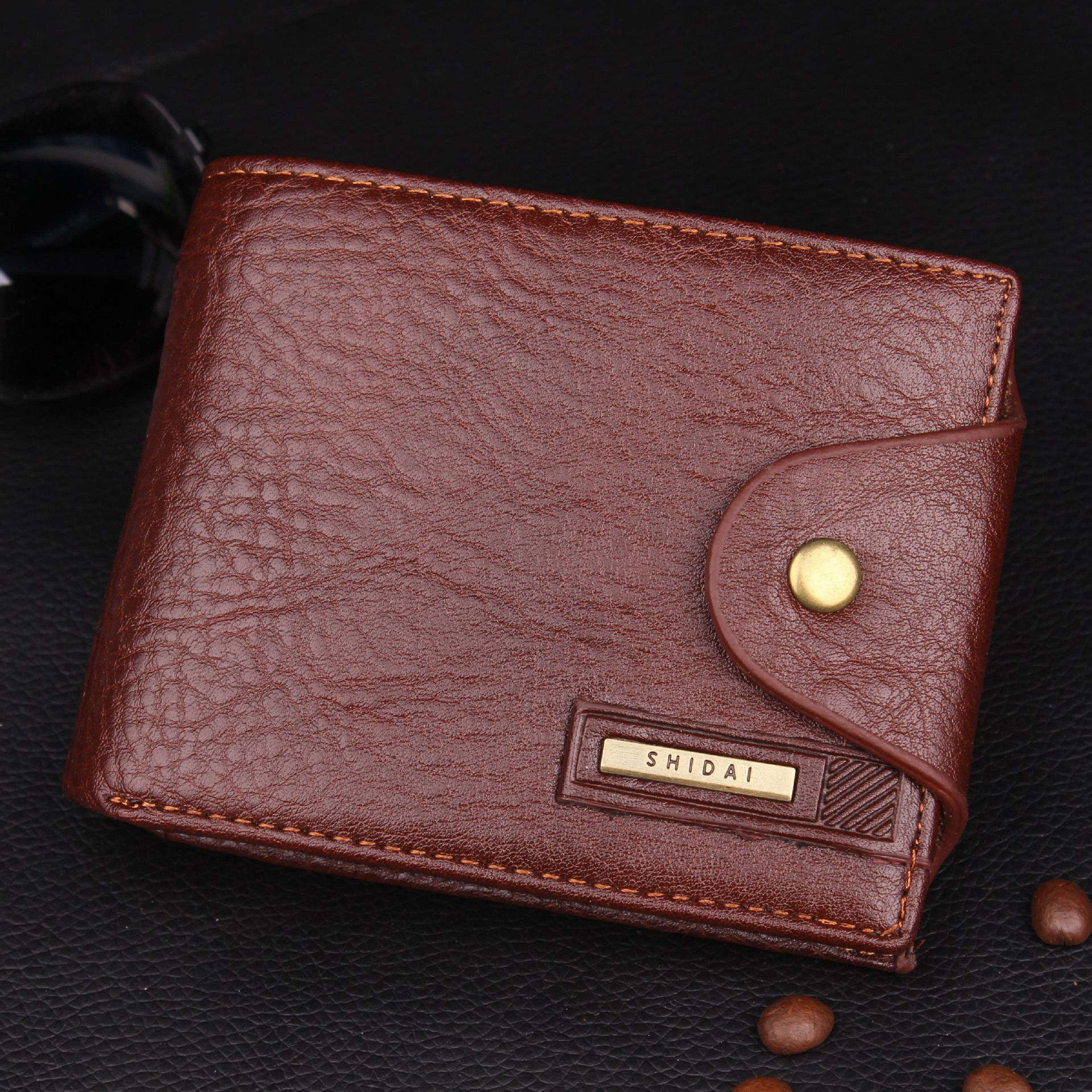 HOT!!! Cowhide Genuine Leather Men Wallet with Short Coin pocket Purse Small business Wallet Brand High Quality Vintage Designer 2017 genuine cowhide leather brand women wallet short design lady small coin purse mini clutch cartera high quality