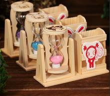 Artesanías De Madera Reloj de Arena Molino de Viento de Dibujos Animados Estudiante Decoración Regalos de Reloj de Arena reloj de Arena De Cristal Artesanía de Navidad Decoración Para El Hogar