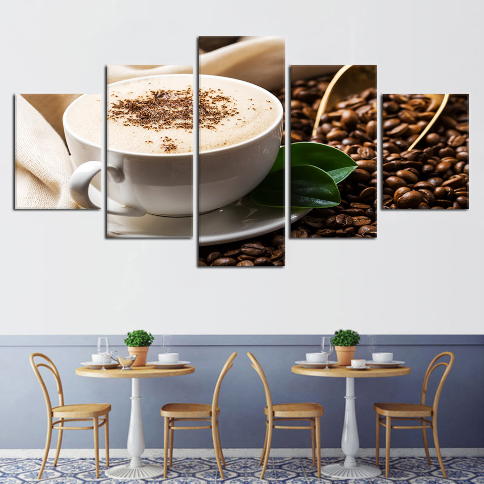 Modern-Pictures-Modular-Drinks-Canvas-Poster-5-Pieces-Coffee-Grain-Cup-Framed-Painting-HD-Printing-Decor