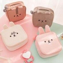 Милые животные вышивка сумка для хранения сумка для макияжа квадратная сумка фланелевая сумка для хранения для путешествий/кемпинга доступно в 4 цветах