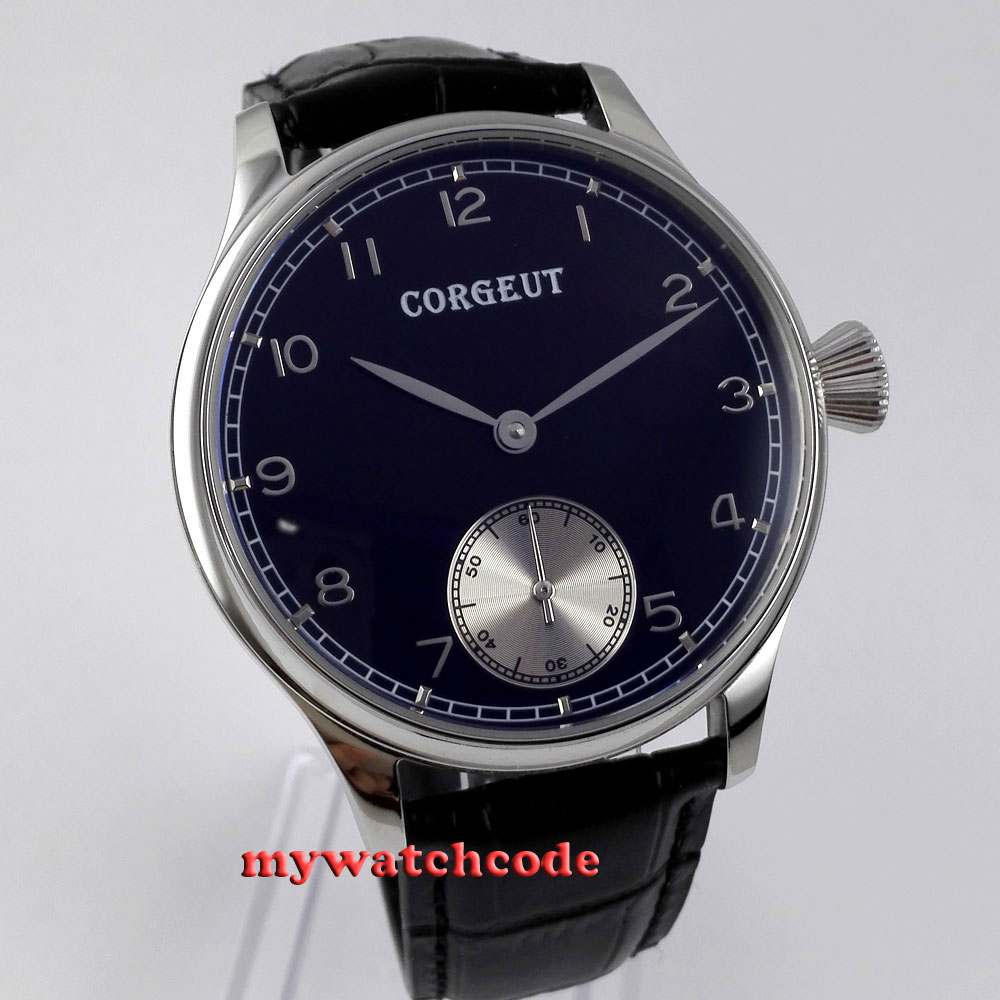 Здесь продается  44mm Corgeut black dial 6498 hand winding movement mens wrist watch 2  Часы