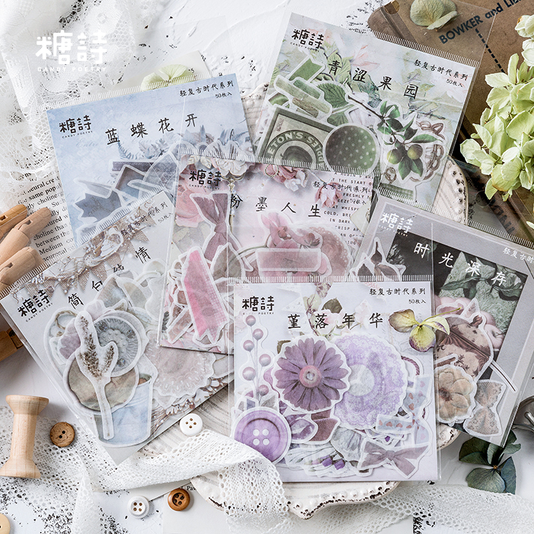 Japanese Decorative Flower Floral Diary Journal Vintage Paper Scrapbooking Label Stickers Stationery Teacher School Supplies