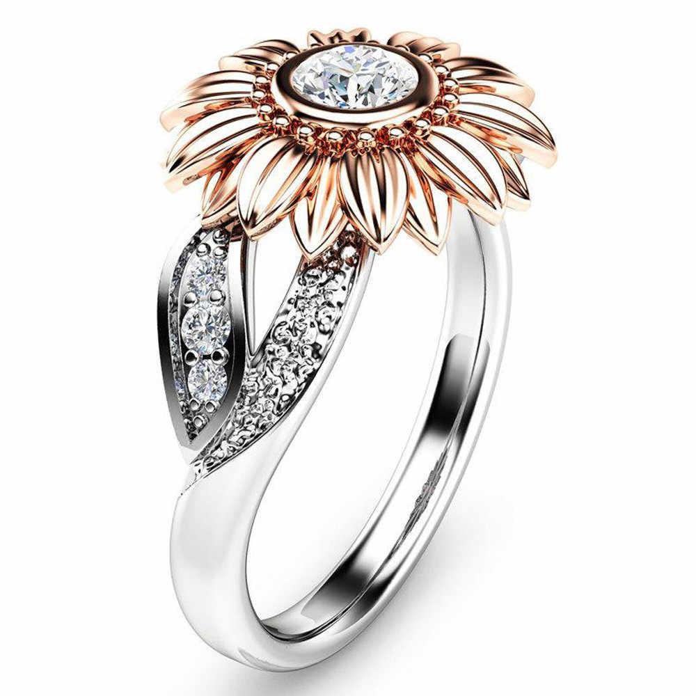 2019 คริสตัล Rose Gold Sunflower แหวน Silver Silver Cubic Zircon แหวนสำหรับผู้หญิงงานแต่งงานของขวัญเครื่องประดับ Bijoux