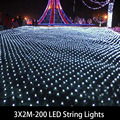 White Tail Plug 3x2M 200 LEDs EU 220V led string light waterproof holiday led lighting Christmas/Wedding/Party Decoration Lights