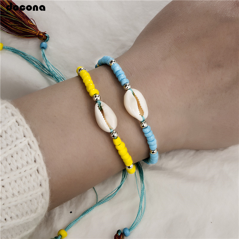 Strand Bracelets Jewelry & Accessories Docona Summer Beach Colorful Beaded Shell Tassel Adjustable Bracelet Set For Women Girl Boho Party Jewelry Pulseiras 3439 At Any Cost