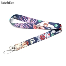 Patchfan Princess Mononoke cartoon keychain lanyard webbing ribbon neck strap fabric para id badge phone holders necklace A1422