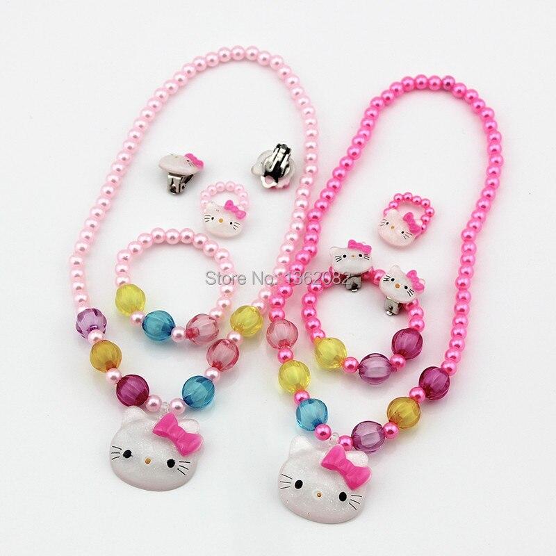 Hot niños niñas bebés perlas de imitación de joyería Hello Kitty collar / pulsera / anillo