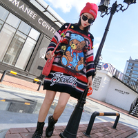 Tide brand 2018 autumn and winter new color personality ball stickers cloth bear loose large size long knit ladies sweater coat