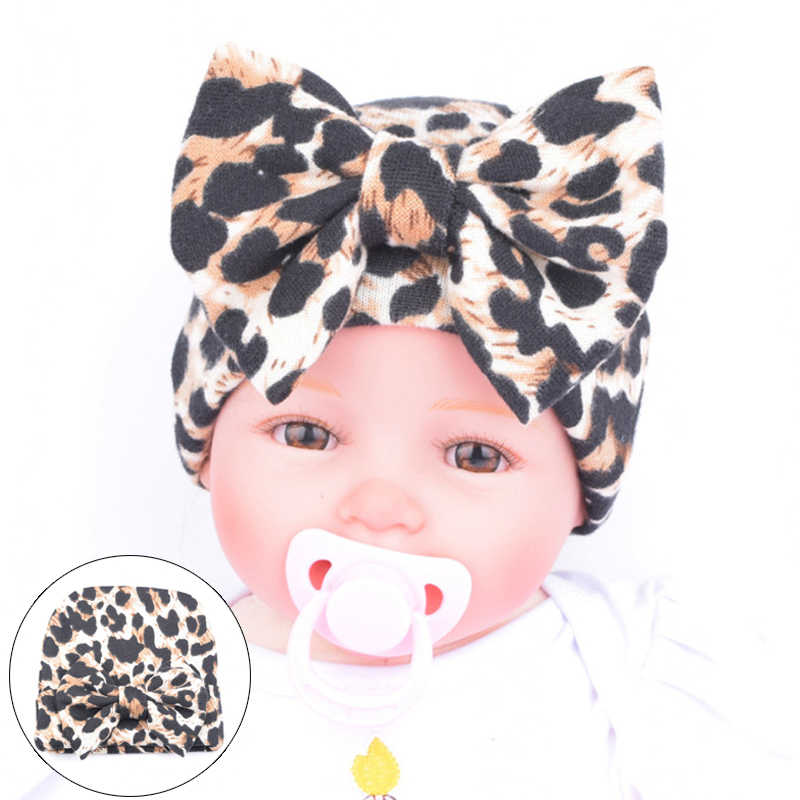 Children's Winter Hat Toddler Baby hats for girls Leopard Big Bowknot Cotton Newborn Hospital Caps Christmas Gift
