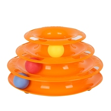Drop Shipping Funny Cat Pet Toy Toys Intelligence Triple Play Disc Balls Crazy Ball Disk Interactive