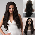 Dark Brown 2# Natural Long Wavy Hair for Black Women Cheap Body Wave Synthetic Wigs Heat Resistant Glueless Lace Front Wig