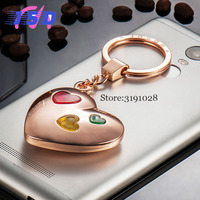 Car Styling Upscale Heart Keychain With Flash Light Key Ring Pendant Business Gift For Toyota BMW