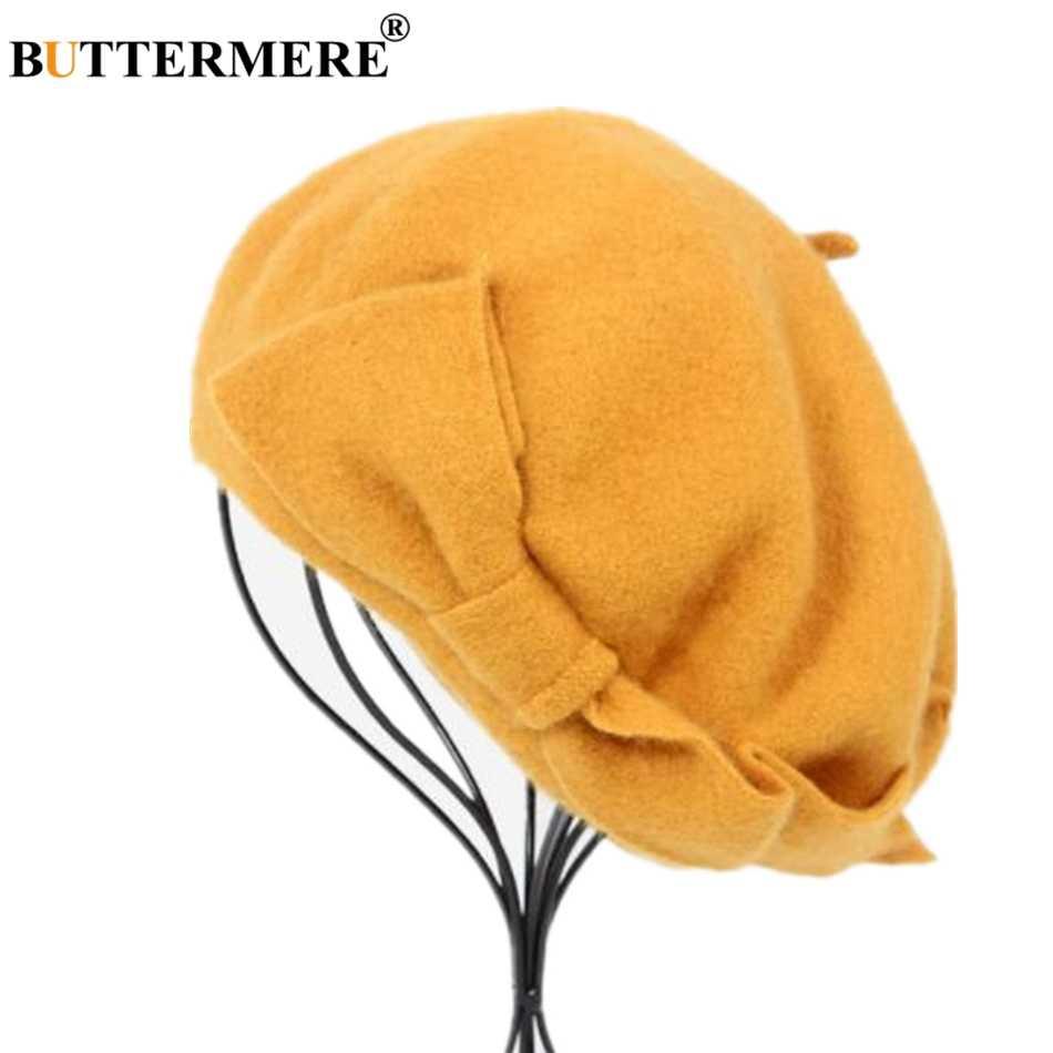 Buttermere Franse Baret Hoed Vrouwen Wol Baret Beanie Geel Herfst Winter Boog Warme Wollen Elegante Dames Effen Koreaanse Schilder Hoed