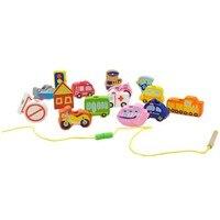 طفل سيارة لعبة خشبية لعبة ارتداء حبل tracffic بلوك هدية للأطفال التعلم المبكر حادة و اللون