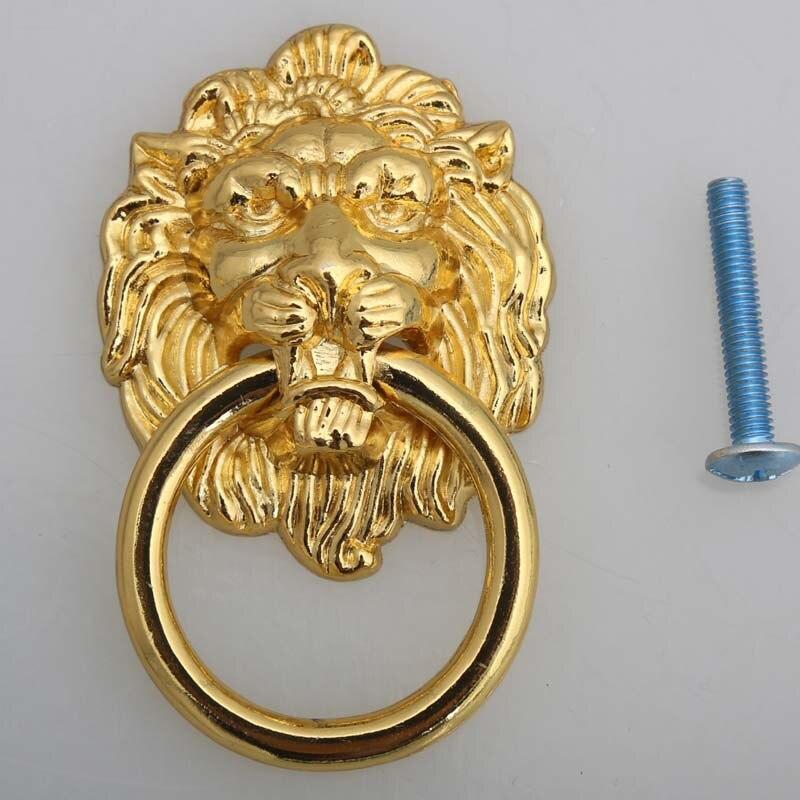 Estilo Vintage ouro Lionhead handle knob gabinete