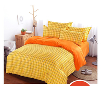 British Style Brand Logo Yellow Plaid Stripes Bedding Set Famous Bed Linen Bedclothes 3 4pcs Duvet Cover Bed Sheet Pillow Cases