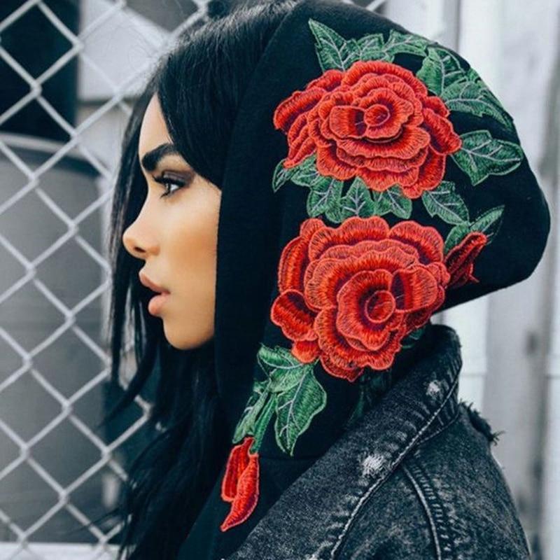 HTB1189vRVXXXXaiXXXXq6xXFXXXA - FREE SHIPPING Floral Black Women Sweatshirt Hoodie JKP221