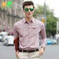 High Quality Men Shirt Long Sleeve Cotton Plaid Dress Man's Business Clothing Turn-Down Collar Social Brand Shirts MDSS1504