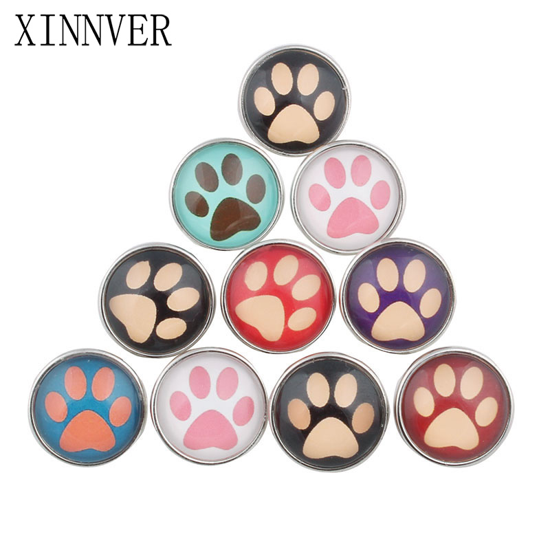 10 Pcs/lot Beautiful <font><b>Paw</b></font> Footprint Snap Button 18MM Round Glass Xinnver Snaps Jewelry Flower Snap Fit Snap <font><b>Bracelet</b></font> ZB326 image