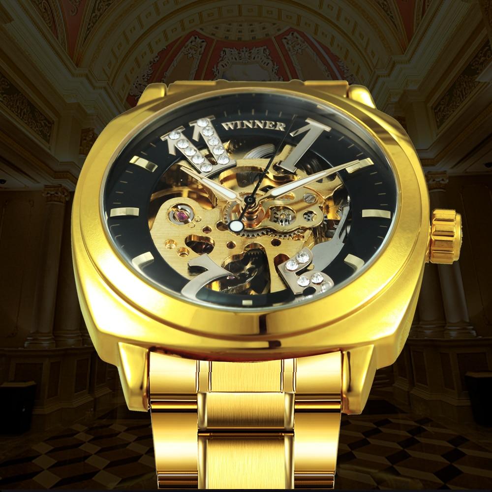 WINNAAR Luxe merk mannen vrouwen Unisex automatische mechanische - Herenhorloges