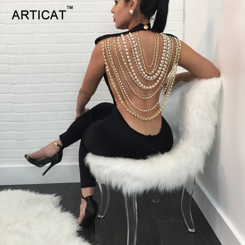 Articat Pearl Chain Sexy Backless Jumpsuit Women Sleeveless Skinny Bodycon Rompers Women ...