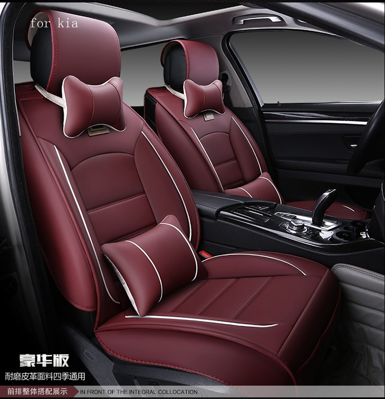 For kia rio sportage ceed cerato soul red black waterproof soft pu leather car seat covers easy clean front &rear full seat for kia rio cerato sportage k2 k3 k5 new brand luxury soft pu leather car seat cover front