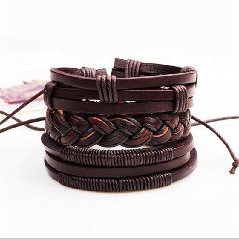 3 sztuk/zestaw moda skórzana bransoletka mężczyźni urok Handmade przyjaźń bransoletki pleciona lina łańcuch biżuteria męska prezenty