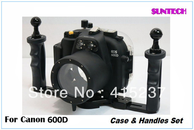 2013 Free shipping Newest and hotest Diving Camera shell for Canon 600D together with handles set