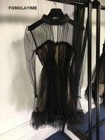 FOMOLAYIME роковой 2018 Новое поступление осенние черные сетчатые платья Для женщин с длинным рукавом