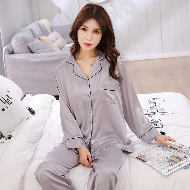 ee4db905544a Women Pajama Set Long Sleeve Shirt Long Pants 2PCS Pyjamas V Neck Satin  Silk Sleepwear Female Nightwear Sexy Pajamas