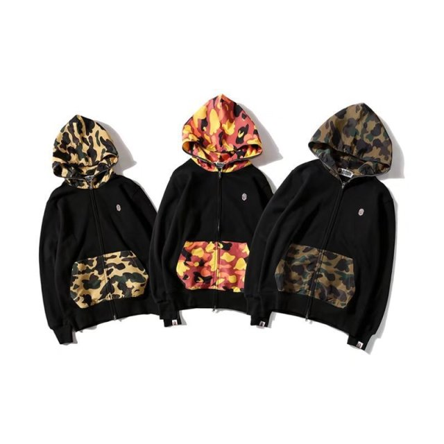 a bathing ape shark hoodie sweatshirt stitching men and women bathing ape 5b3c9d00340c