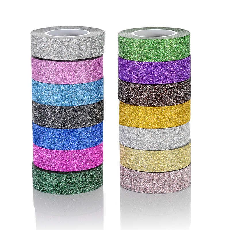 15 colori possono scegliere 10 m scintillio nastro adesivo forte per mascheramento deco nastro annacquato set di 10