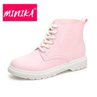 MINIKA Winter Shoes Women Casual Shoes Lovely Pink Lace Up Ankle Boots Women Fashion Durable Snow