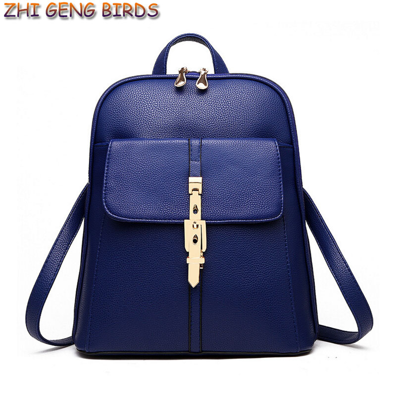 ZHI GENG BIRDS Women Leather Backpacks Casual Backpack for Students Girl Mochilas School Back bags Ladies