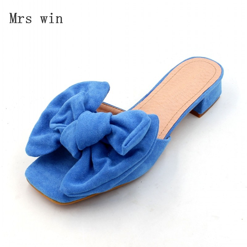 2018 новые Летние женские туфли тапочки Модная женская обувь бабочка-узел вне слайды Дамская обувь плюс Размеры розовый